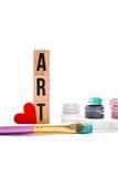 Art d'amour - blocs, brosse et palette Photographie stock libre de droits