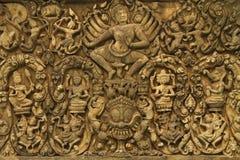 Art d'Angkor Wat de pierre indoue antique d'un dieu Photographie stock libre de droits