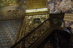 Art d'intérieur de St John Roman Catholic Co-Cathedral de La Valette, Malte images stock
