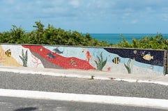 Art d'océan de mur par l'océan au Brésil photographie stock