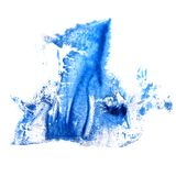 Art Dark blue watercolor ink paint blob watercolour splash colo. Rful stain isolated on white background stock photography