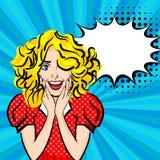 Art de bruit sexy heureux de fille de cheveux blonds illustration stock