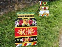 Art de canal des roses et des châteaux à la célébration de 200 ans du canal de Leeds Liverpool chez Burnley Lancashire Image libre de droits