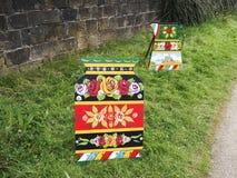Art de canal des roses et des châteaux à la célébration de 200 ans du canal de Leeds Liverpool chez Burnley Lancashire Images stock