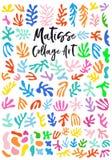 Art de collage de style de Matisse, éléments de conception graphique de vecteur photographie stock
