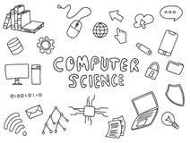 Art de construction de l'informatique de griffonnage d'éducation avec le vecteur noir et blanc d'ensemble de couleur illustration stock