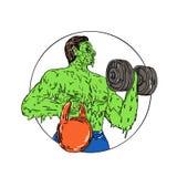 Art de crasse de Fitness Dumbbell Kettlebell d'athlète Image stock