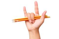 Art de crayon d'éducation dans l'amour sur le fond blanc Photos libres de droits