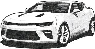 Art de croquis de Chevrolet Camaro illustration stock