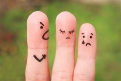 Art de doigt d'une famille pendant un argument images stock