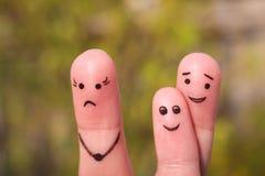 Art de doigt de famille pendant la querelle Le concept de l'enfant est des amis avec son père Photos libres de droits