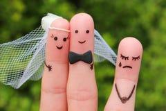 Art de doigt des couples heureux à se marier  Image stock