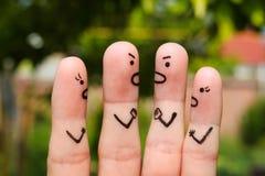 Art de doigt des personnes pendant la querelle image stock