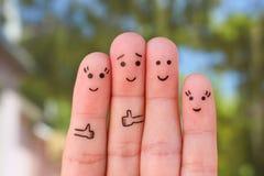 Art de doigts de famille des vacances Images libres de droits