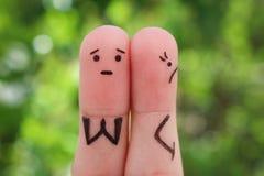 Art de doigts des couples contrariés Photographie stock libre de droits