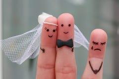 Art de doigts des couples heureux à se marier  Photos libres de droits
