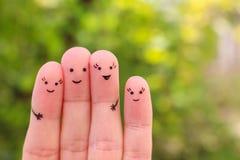 Art de doigts de famille Photos libres de droits