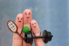 Art de doigts de famille heureuse dans les sports Photo libre de droits