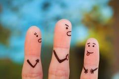 Art de doigts de famille pendant la querelle images libres de droits