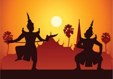 Art de drame de danse traditionnelle de classique thaïlandais masqué Thaïlandais ancien illustration libre de droits