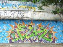 Art de graffiti, mur à San Juan, Porto Rico Photographie stock libre de droits