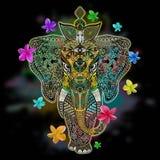 Art de griffonnage de Zentangle d'éléphant images libres de droits