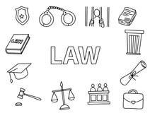 art de griffonnage de loi avec le vecteur de esquisse tiré par la main d'icône de style d'ensemble illustration stock