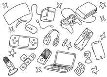 Art de jeu de jeux de griffonnage avec le matériel d'outils de jeu et la couleur noire et blanche illustration stock