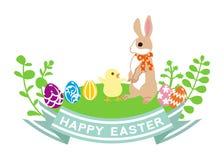 Art de lapin et de Poussin-agrafe de Pâques Photographie stock
