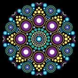 Art de mandala, point australien peignant la conception décorative, style indigène de bohémien d'art populaire Photos stock