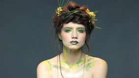 Art de maquillage de nature, jeune femme banque de vidéos