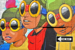 Art de mur sur le marché oriental, Detroit image stock