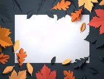 Art de papier - Autumn Fall Leaves Background illustration de vecteur