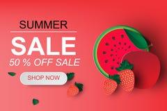 Art de papier de bannière de vente d'été avec la pastèque Images libres de droits