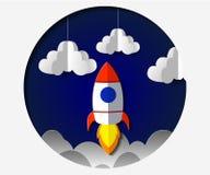 Art de papier découpant le vol de fusée dans l'espace Idée d'affaires de concept, démarrage, exploration Illustration de vecteur illustration stock
