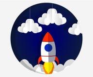 Art de papier découpant le vol de fusée dans l'espace Idée d'affaires de concept, démarrage, exploration type illustration stock