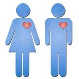 Art de papier de symbole d'homme et de femme Photo stock