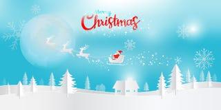 Art de papier de Digital, Joyeux Noël et bonne année avec Santa illustration libre de droits