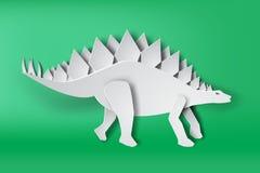Art de papier de dinosour de Stegosaurus sur le vecteur vert de fond illustration libre de droits