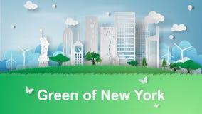 Art de papier du voyage des points de repère de renommée mondiale de New York City, Photo stock