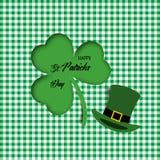 Art de papier de feuille et de chapeau de trèfle feuille de trèfle de l'illustration 3d le jour de St Patricks Illustration de ve illustration stock