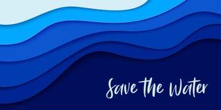 Art de papier de jour d'océans du monde illustration de vecteur