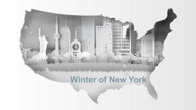 Art de papier de l'hiver de voyage et de la saison de neige des points de repère de carte de N Image libre de droits