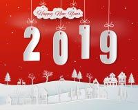 Art de papier de la bonne année 2019 avec la campagne urbaine de neige sur le fond rouge illustration de vecteur