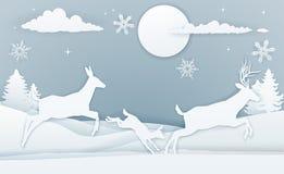 Art de papier de scène de cerfs communs d'hiver illustration libre de droits