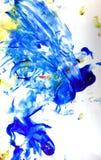 Art de peinture de doigt bleu et jaune Photos stock