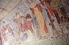 Art de peinture de mur de fresque en cavernes de Goreme Photos stock