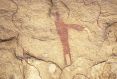 Art de roche de pictographe au parc historique d'état de Seminole, TX Photographie stock libre de droits