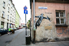 Art de rue avec un homme chanteur Photographie stock libre de droits