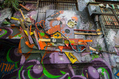 Art de rue dans le bonnetier Lane Melbourne Images stock